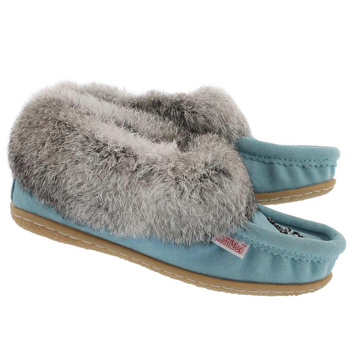 Lds Cute 4 light blu rabbit fur moccasin