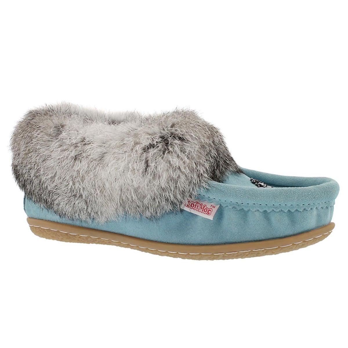 Women's CUTE 4 light blue rabbit fur moccasin