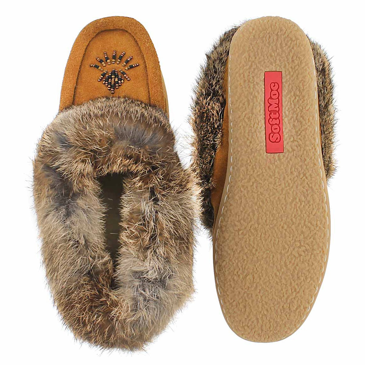 Lds Cute 4 mocha rabbit fur moccasin