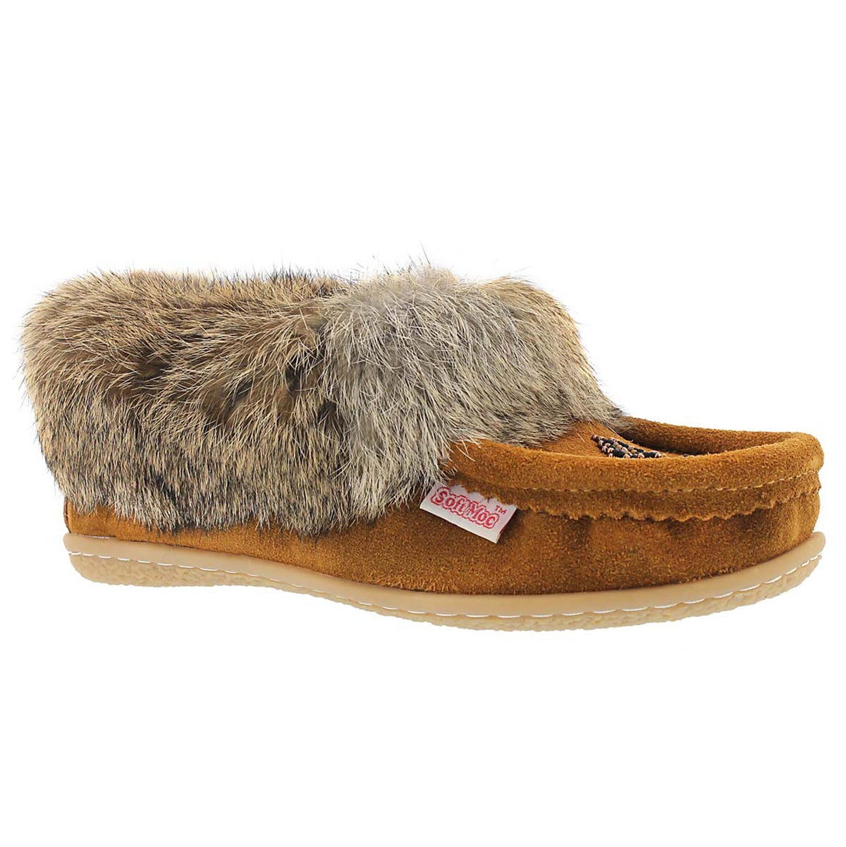 Women's CUTE 4 mocha rabbit fur moccasins