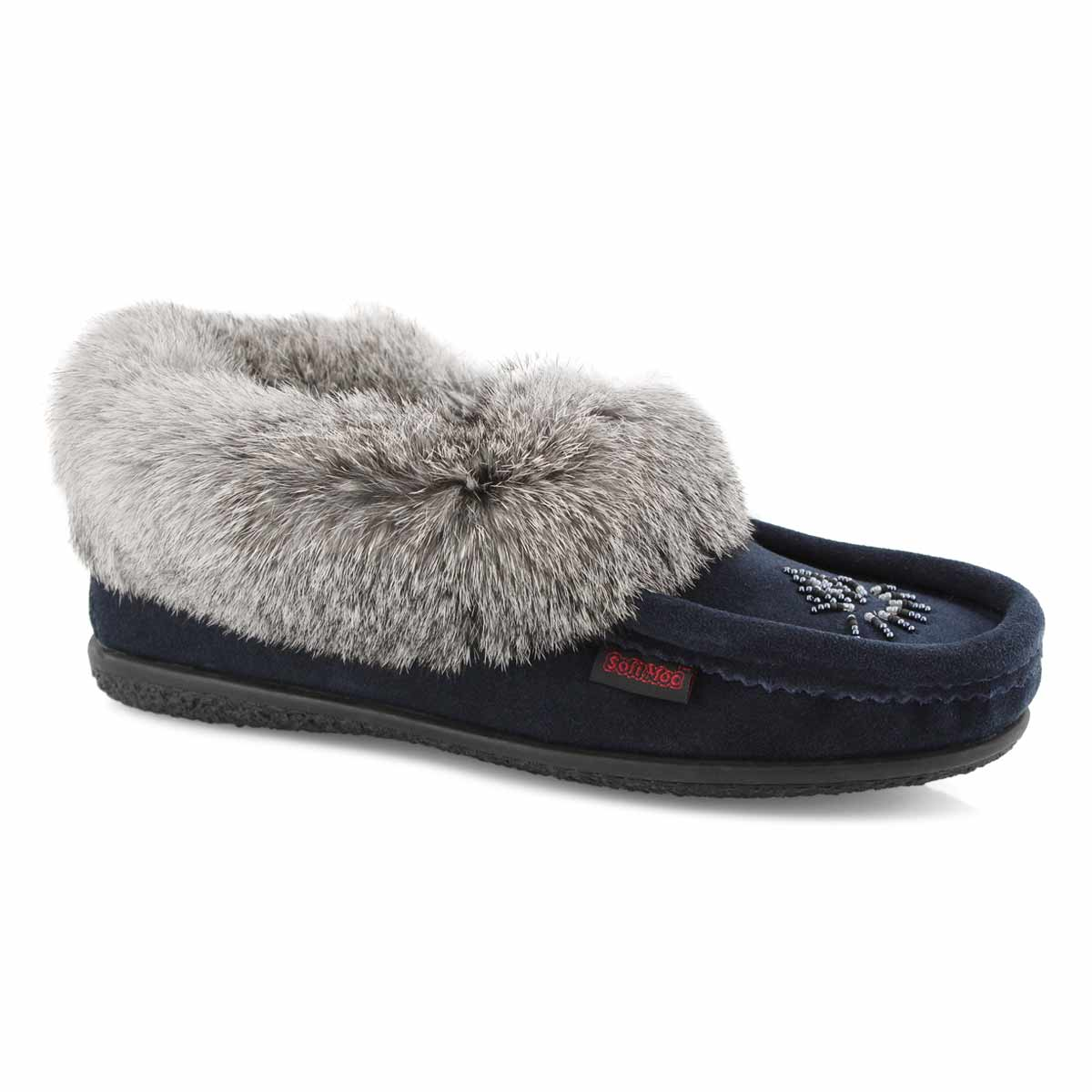 Lds Cute 4 navy rabbit fur moccasin