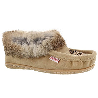 Lds Cute 4 sand rabbit fur moccasin