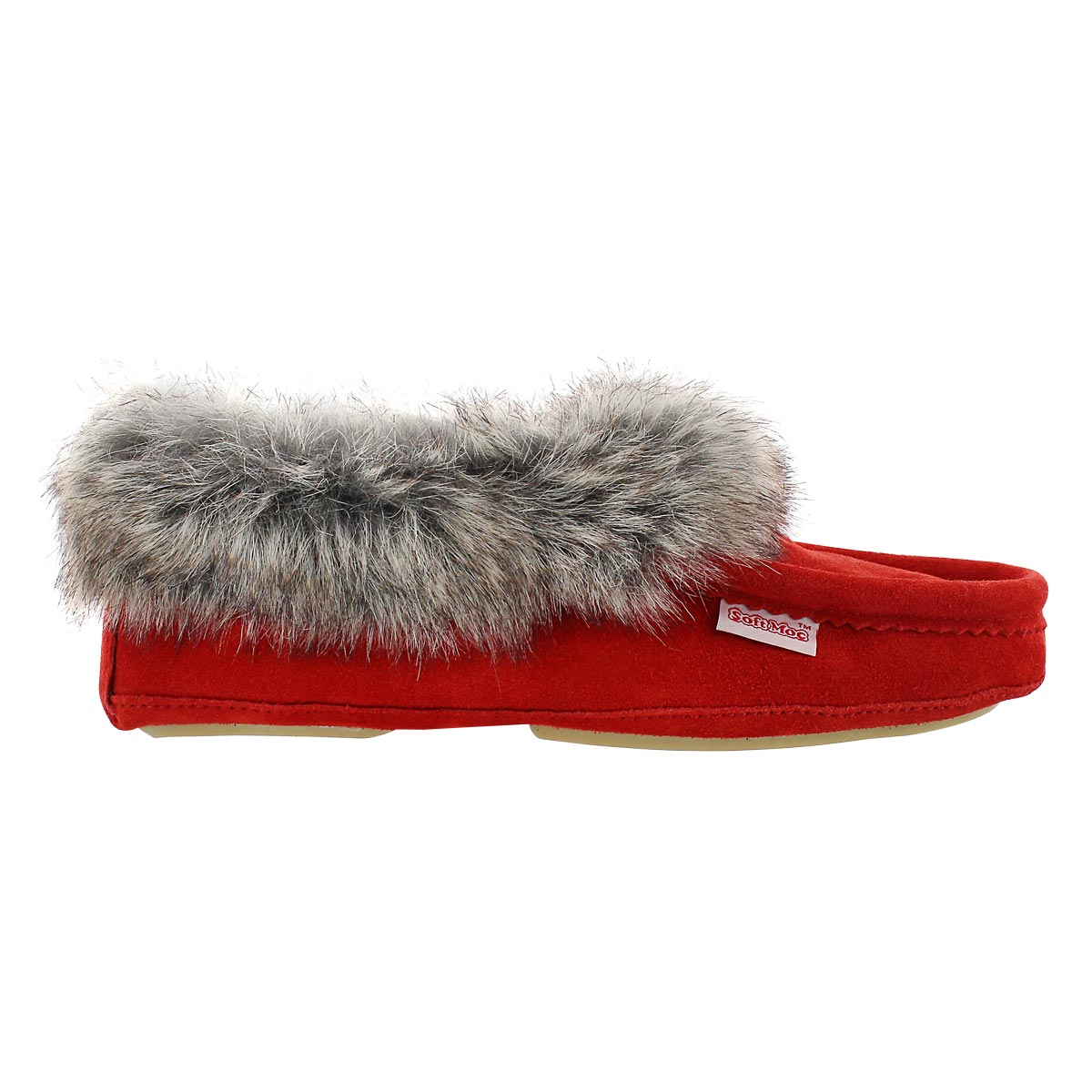Lds CuteFauxU red suede faux collar moc