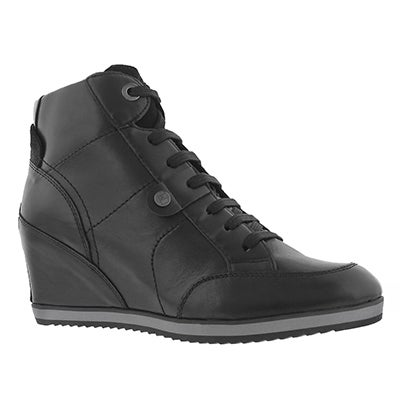 Lds Illusion blk lace up wedge boot