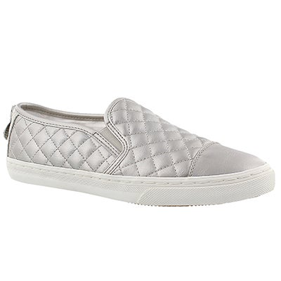 Lds New Club wht/silver slip on sneaker
