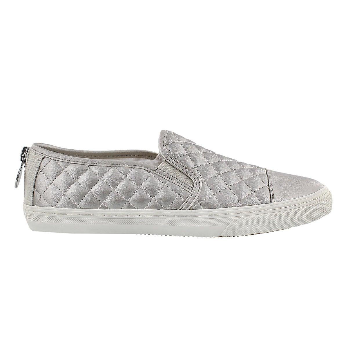 Lds New Club wht/silver slip on sneaker