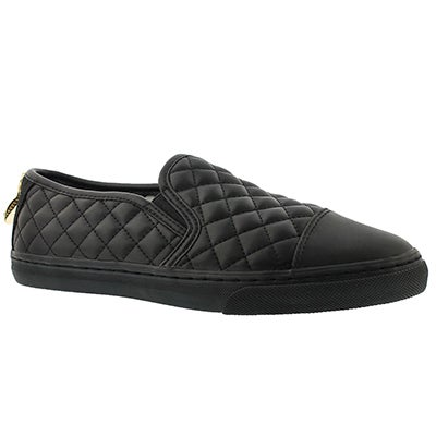 Lds New Club black quilted slipon loafer