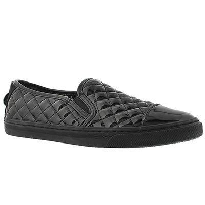 Geox Women's NEW CLUB black patent quilted loafers