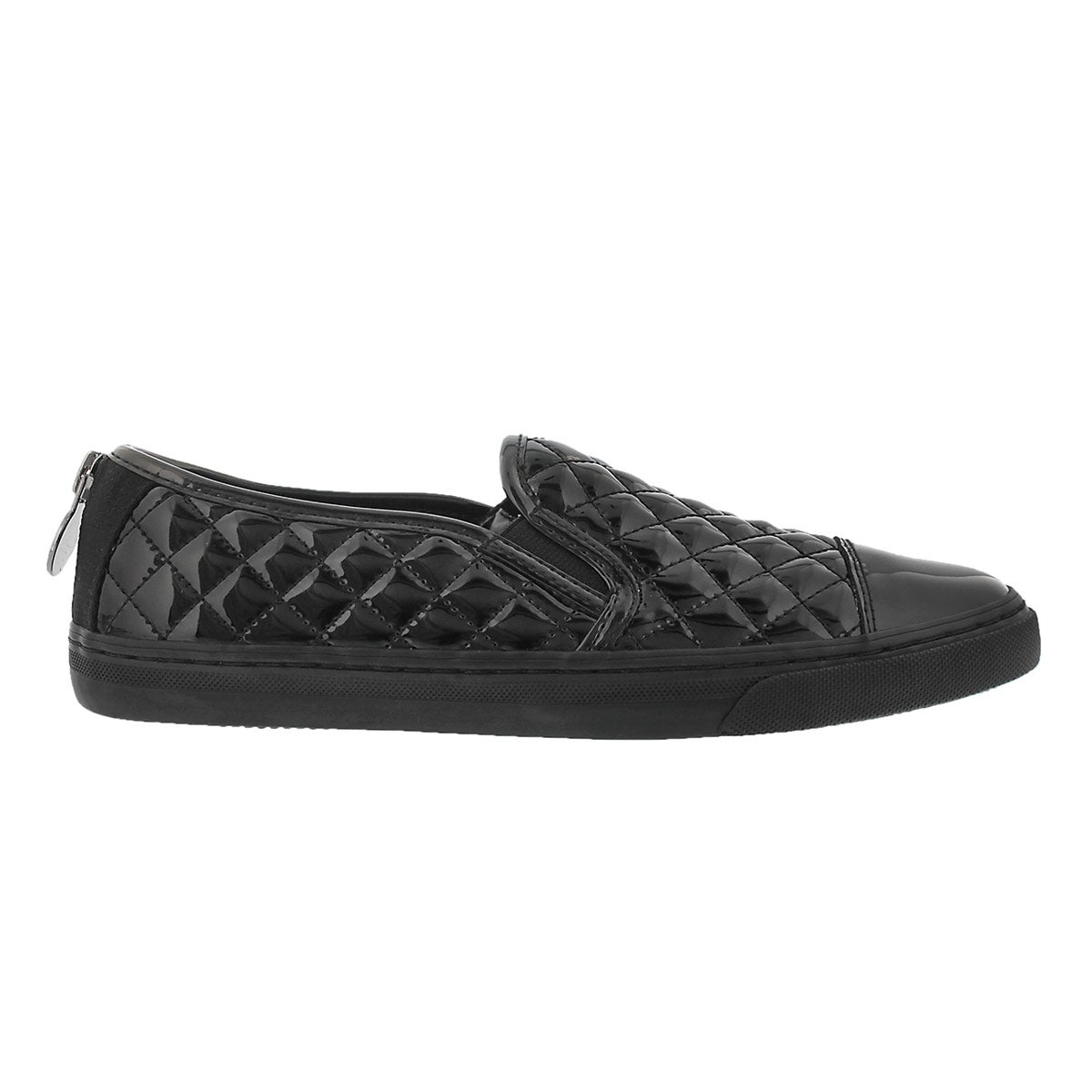 Lds New Club black patent quilted loafer