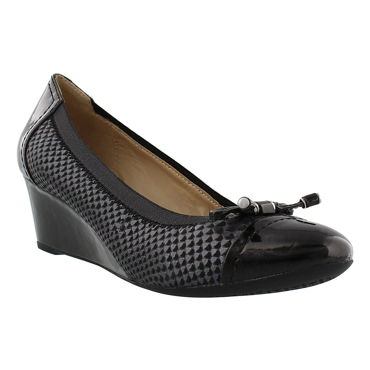 Lds Floralie black nubuck dress wedge