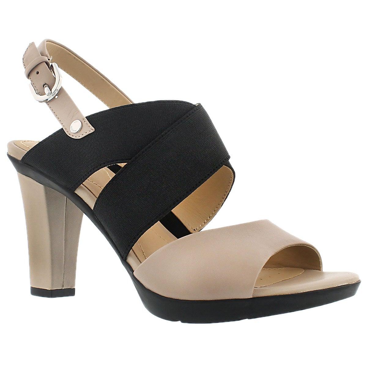 Lds Jadalis lt taupe/blk dress sandal