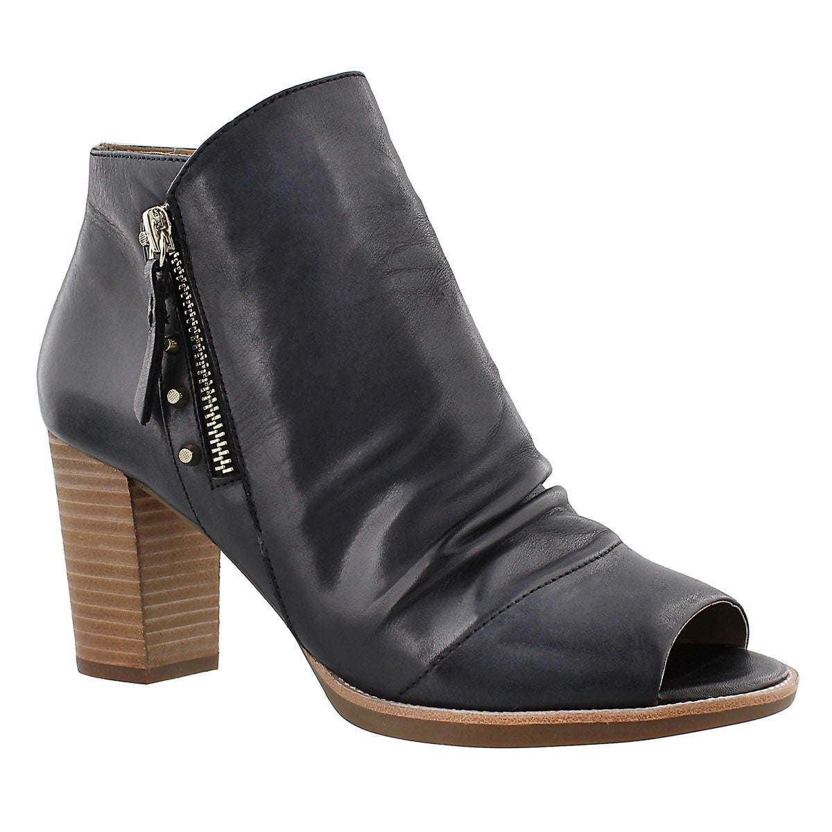 Lds New Callie dark grey peep toe heel