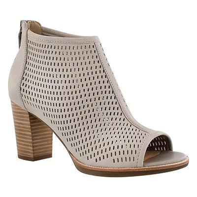 Lds New Callie grey perf peep toe heel