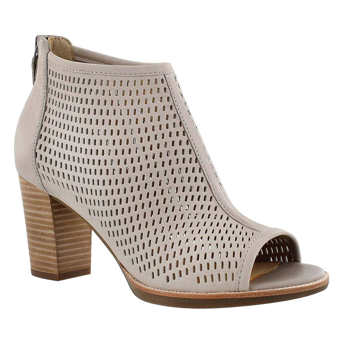 Lds New Callie grey perf peep toe heel
