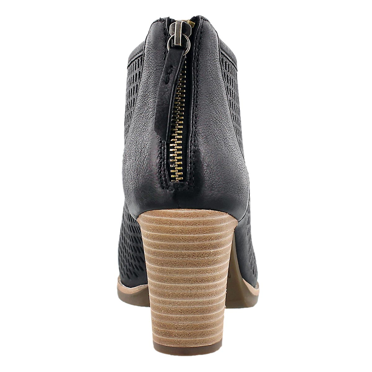 Lds New Callie black perf peep toe heel