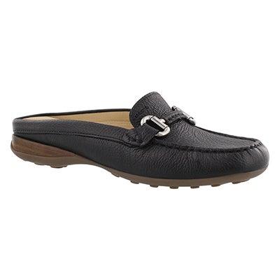 Lds Euro black slip on open back loafer