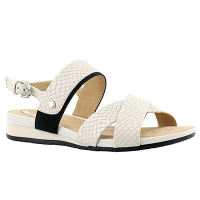 Lds Formosa off white/blk dress sandal