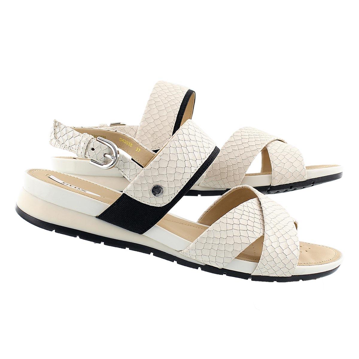 Lds Formosa off white/blk dress sandal
