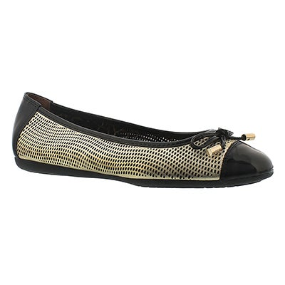 Geox Women's LOLA light gold leather ballerina flats