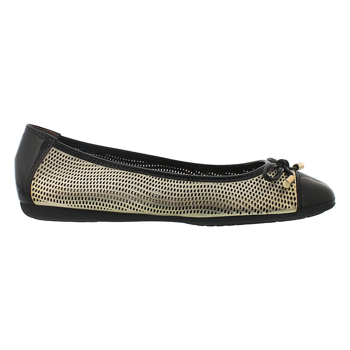 Lds Lola lt gld leather ballerina flat