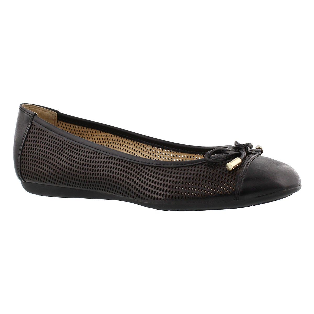 Lds Lola black leather ballerina flat