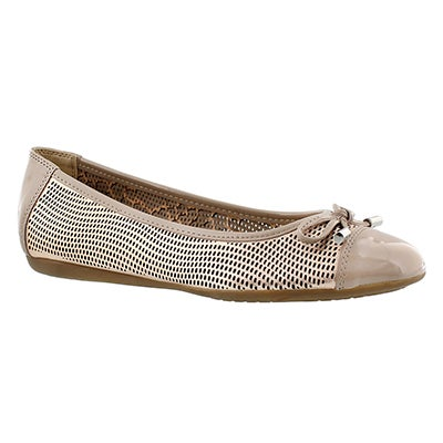 Geox Women's LOLA rose gold leather ballerina flats