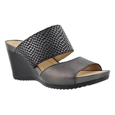 Geox Women's NEW RORIE black slip on wedge sandal