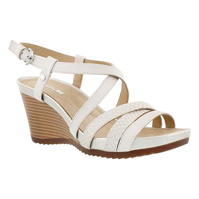Geox Women's NEW RORIE white wedge sandals