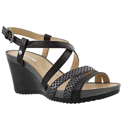 Geox Women's NEW RORIE black wedge sandals