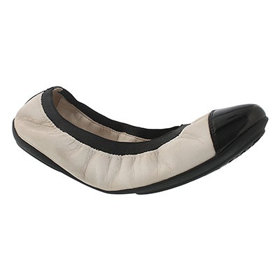 Geox Women's CHARLENE off white/blk dress flats