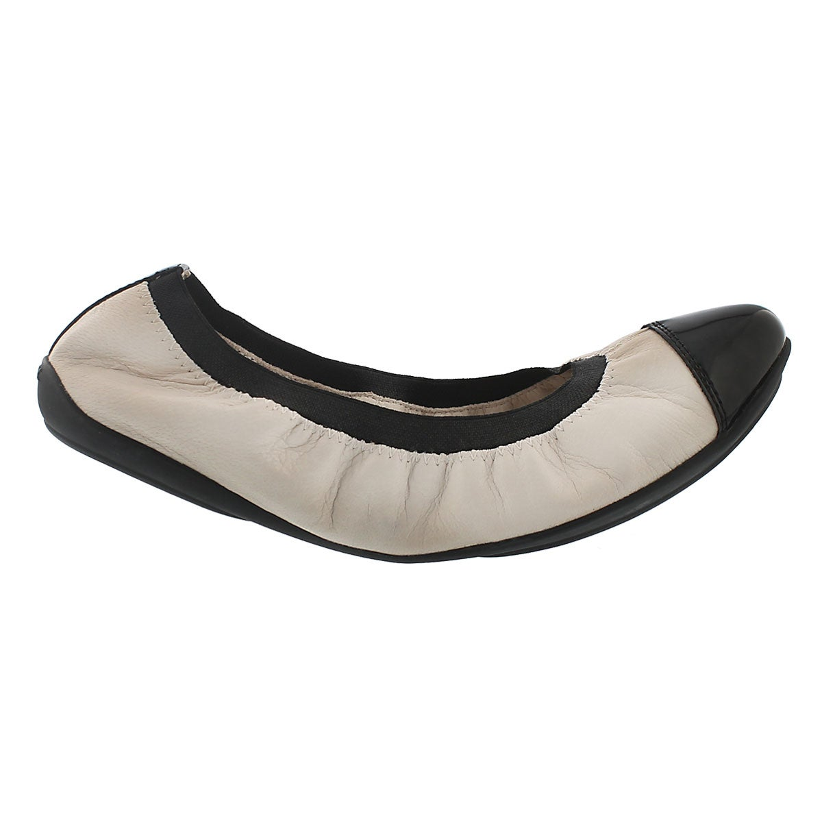 Lds Charlene off white/blk dress flat