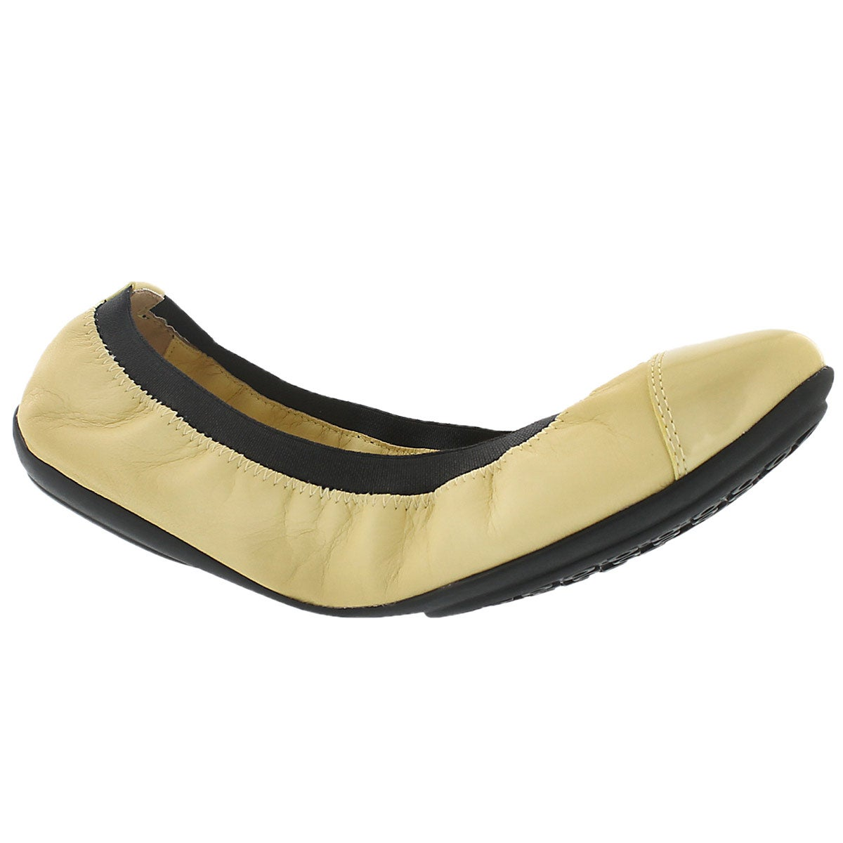 Lds Charlene lt yellow/blk dress flat