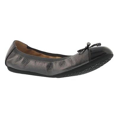 Geox Women's LOLA 2FIT gun leather ballerina flats