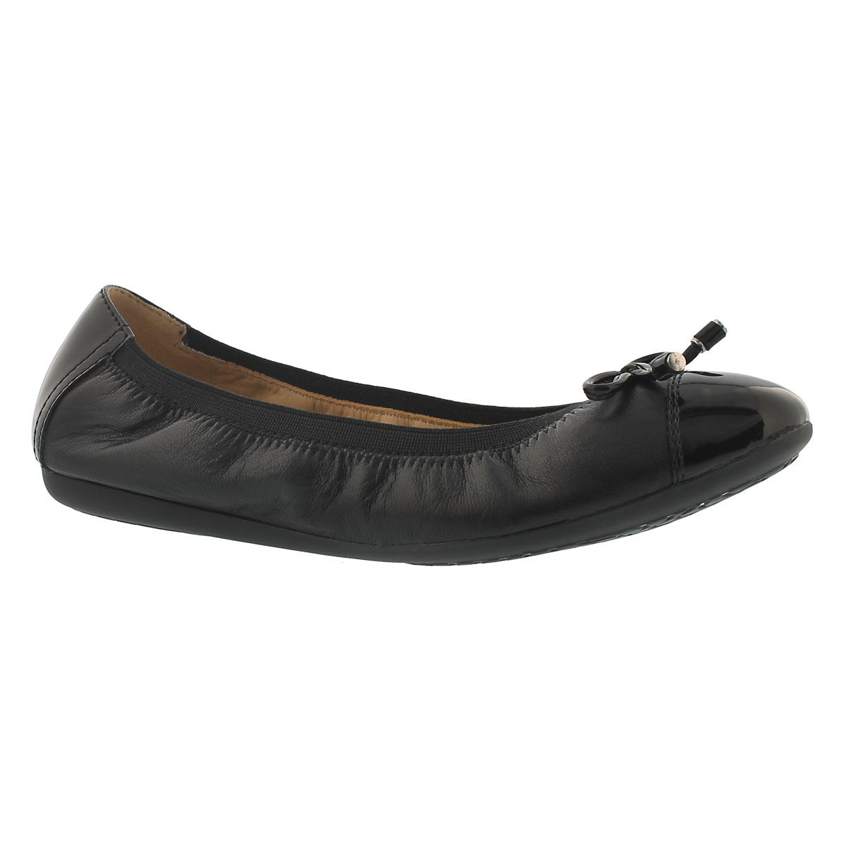 Lds Lola 2Fit blk leather ballerina flat