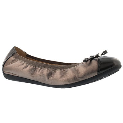 Geox Women's LOLA 2FIT lead leather ballerina flats