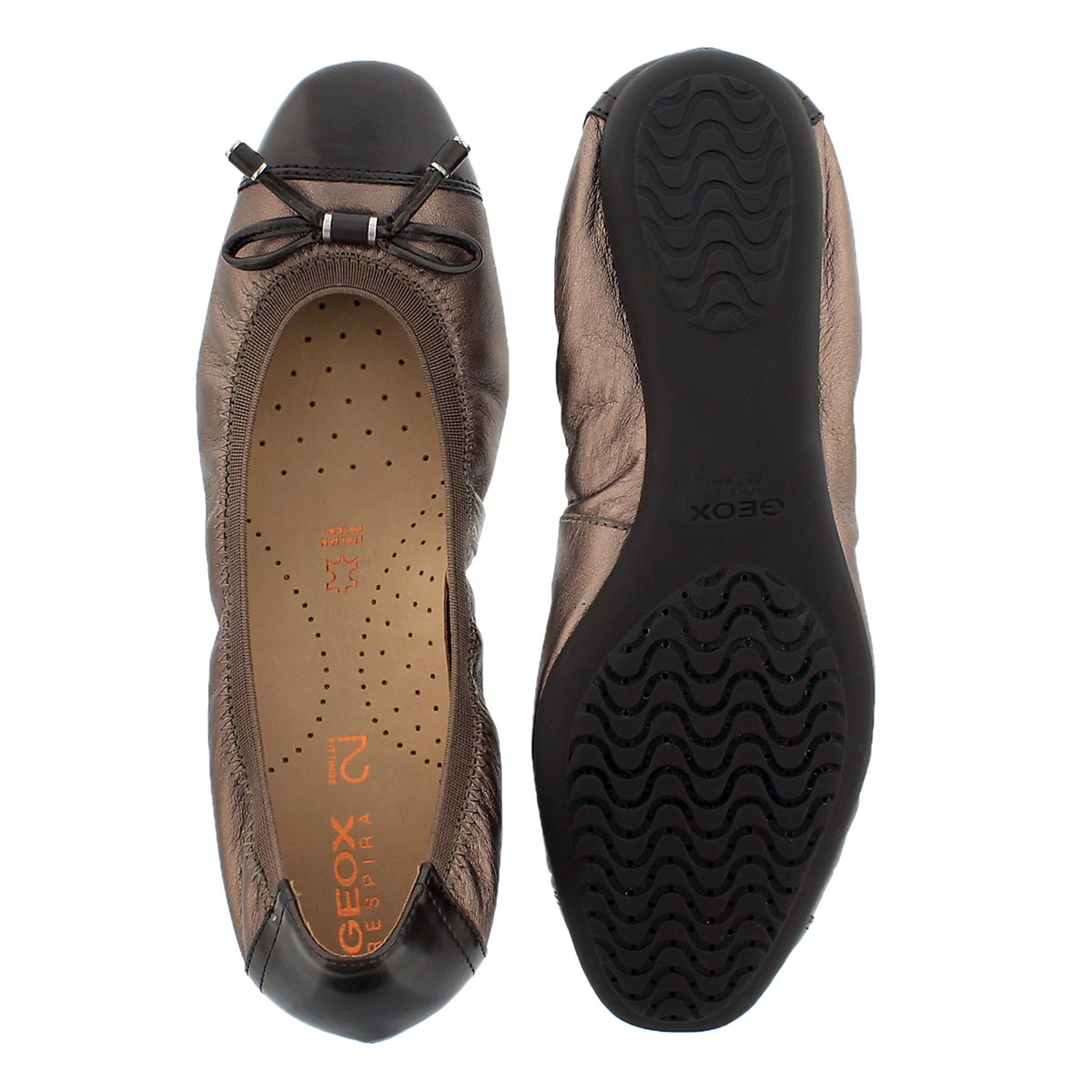 Lds Lola2Fit lead leather ballerina flat