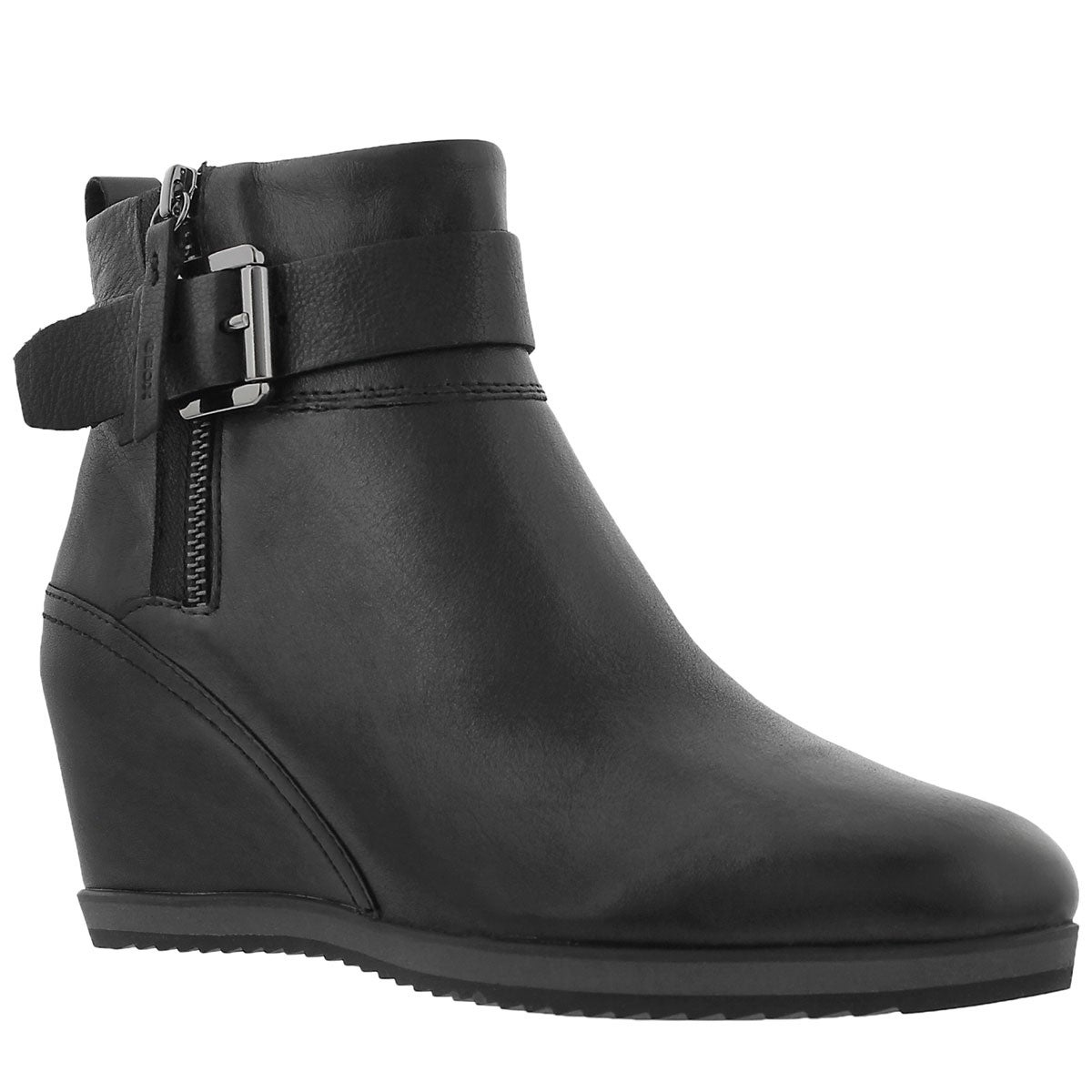 Lds Illusion black low dress wedge boot