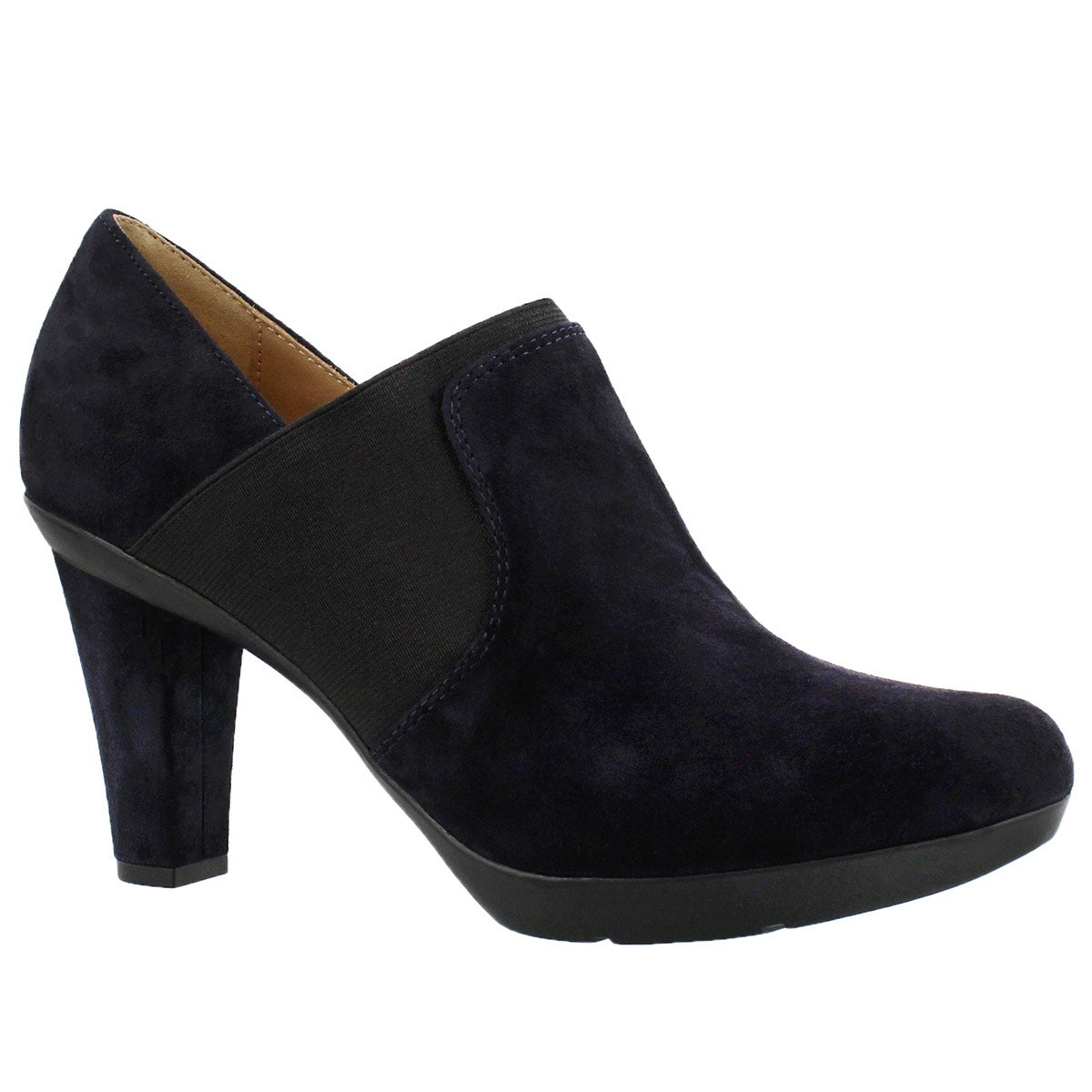 Lds Inspiration dk nvy suede dress heel