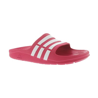 Adidas Girls' DURAMO pink slide sandals
