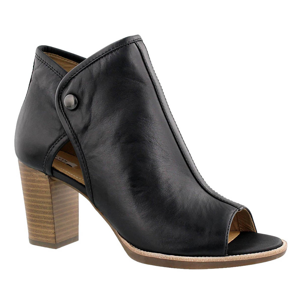 Lds Callie black peep toe dress heel