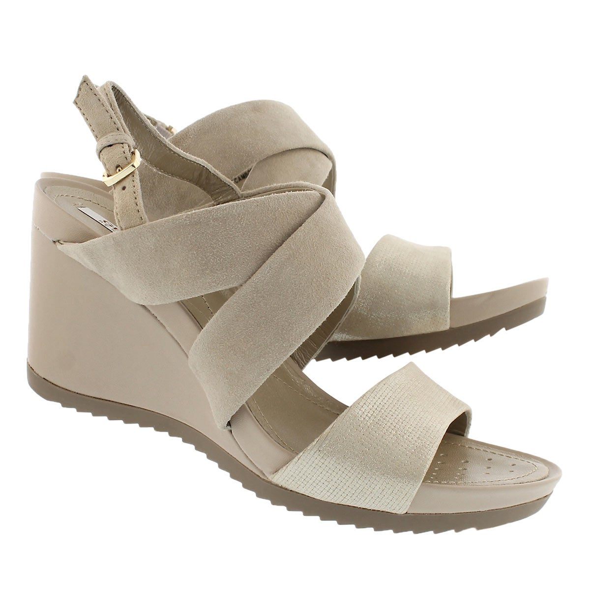 Lds New Rorie taupe/gld wedge sandal