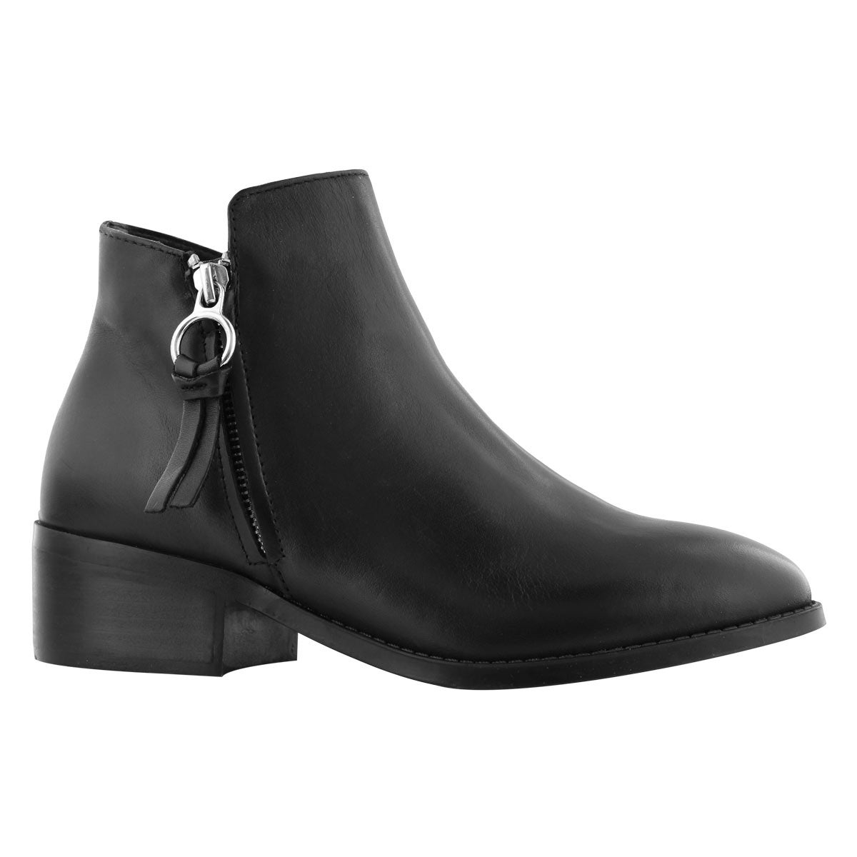 Lds Dacey black side zip ankle bootie
