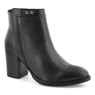 Lds Dacia blk/gld side zip ankle bootie