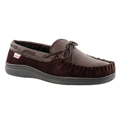 Mns Dalton dark brown lined leather mocc