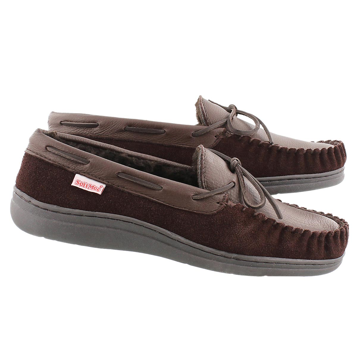 Mns Dalton dark brown lined leather mocc
