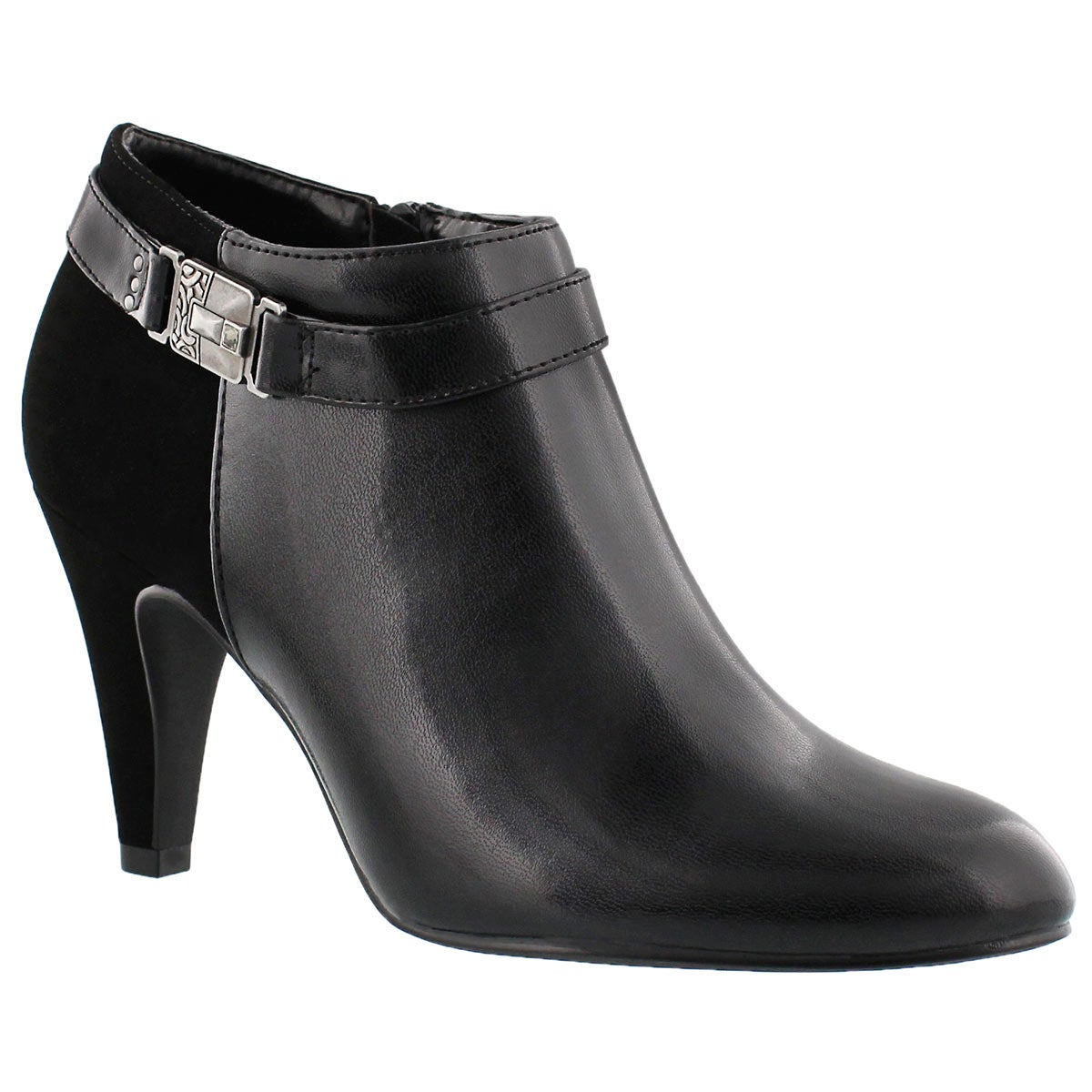 Lds Darci black buckle dress bootie