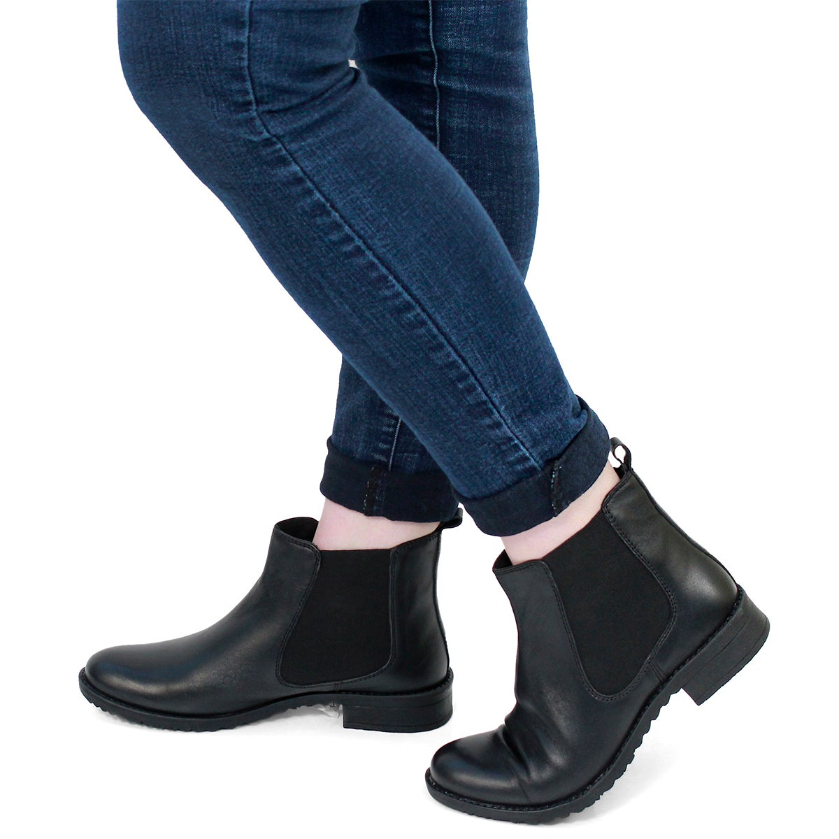 Lds Darilyn black lthr chelsea boot