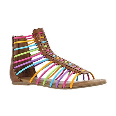Grls Darla tan/multi casual sandal