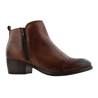 Lds Davina cognac double side zip bootie