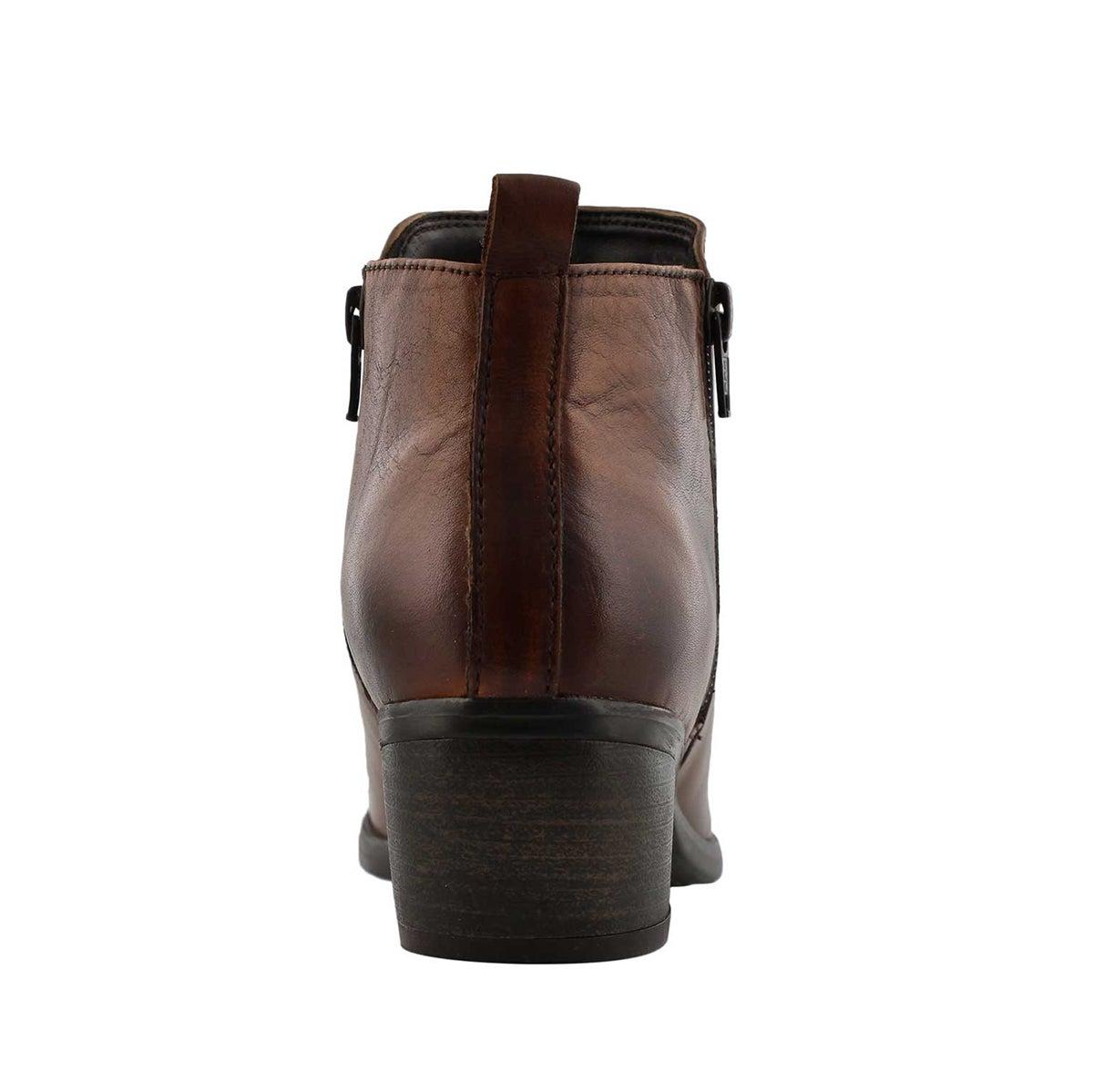 Lds Davina cognac double side zip bootie